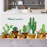 BE_ 2Pcs Cactus Plant Green Leaves Wall Sticker Living Room Bedroom Decor Novelt