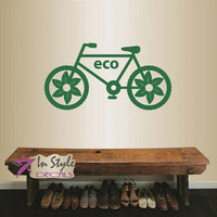 Vinyl Decal Ecology Eco Friendly Bicycle Nature Decor Removable Wall Sticker 968