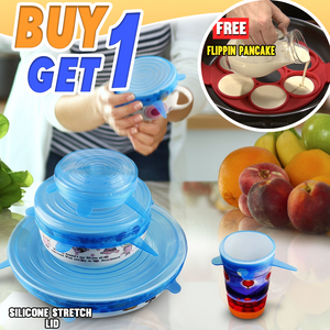 Buy 1 Get 1 Promo - Silicone Stretch Lid + Flipping Pancake Maker