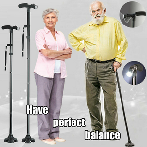 New Foldable Walking Cane w/ LED & Stand Feature