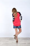 Raglan Top with Striped Sleeves