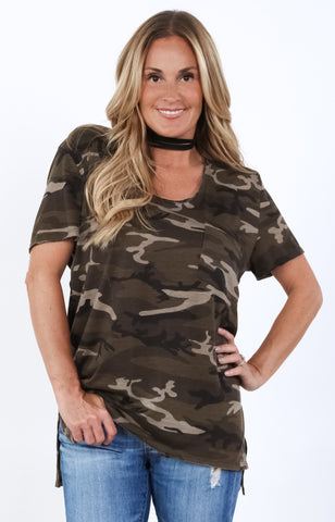 Raw Edge Lace Up Camo Top