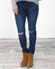 Denim Slit Knee Skinny Jogger