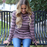 Striped Button Cowl Neck Top | S-3X