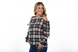 Cold Shoulder Plaid Top