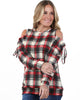 Cold Shoulder Plaid Top | S-XL