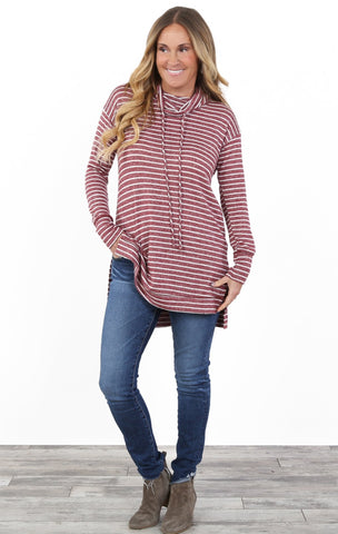 Stripe Cowl Neck Tunic | S-3X