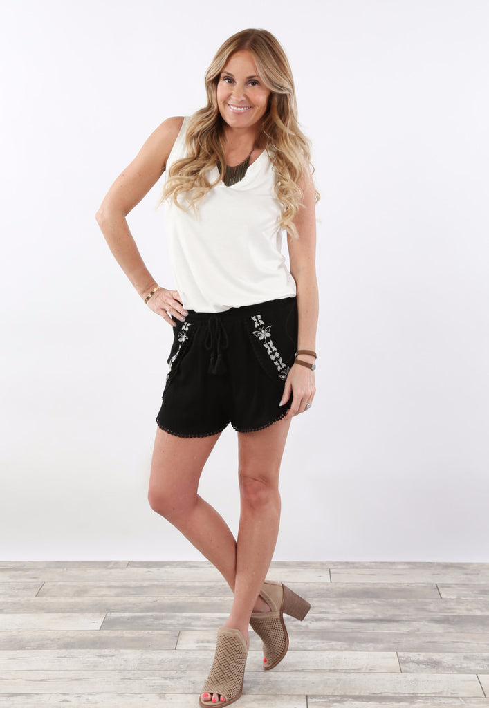 Embroidered Spring Shorts