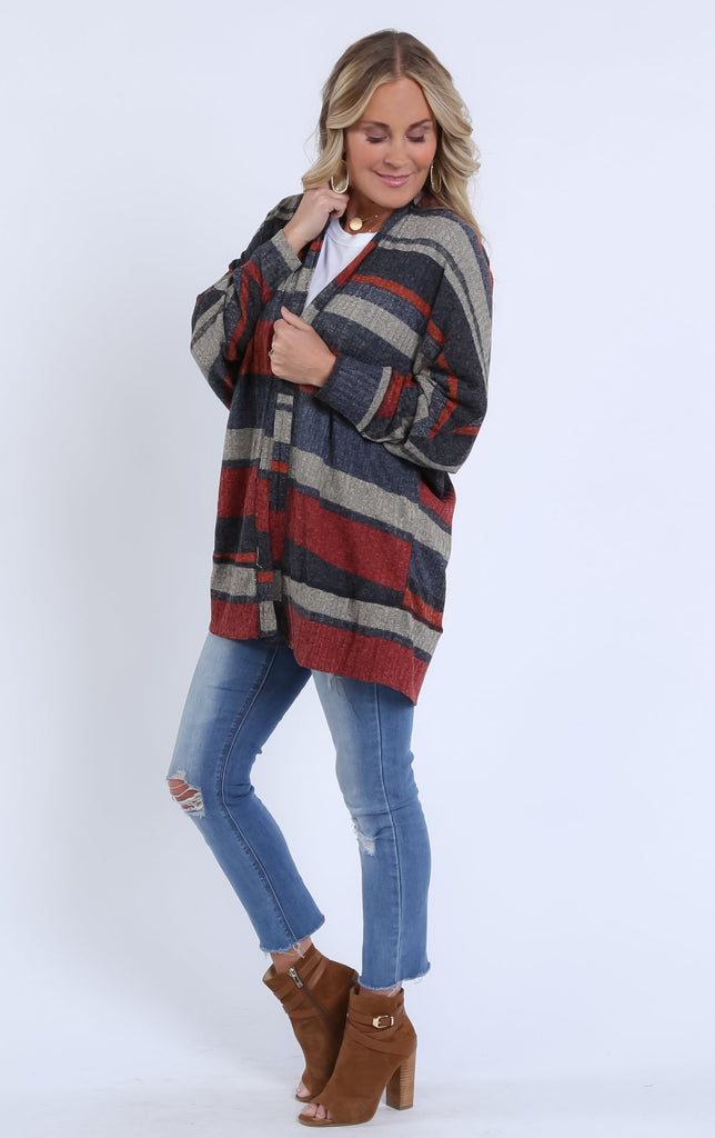 Striped Flowy Cardigan | S-XL