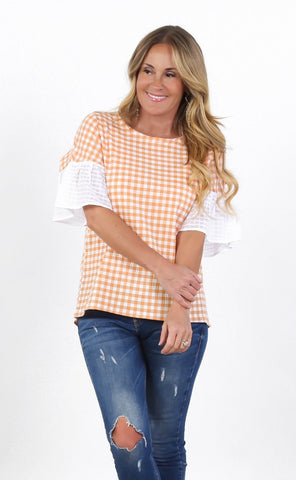 Ruffle Sleeve Gingham Top