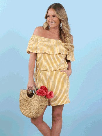 Casey On/Off Shoulder Striped Romper