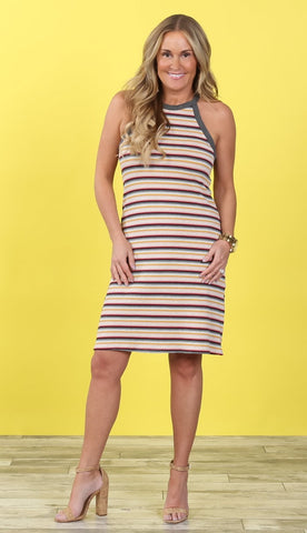 Devyn Striped Halter Dress |Two Colors