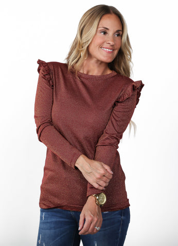 Moon Ruffle Metallic Top | S-XL