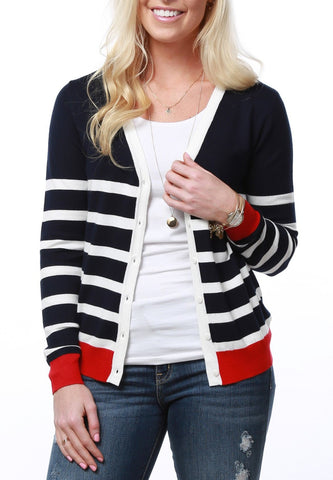 Two Toned Striped Cardigan