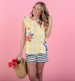 Oahu Floral Flutter Sleeve Top