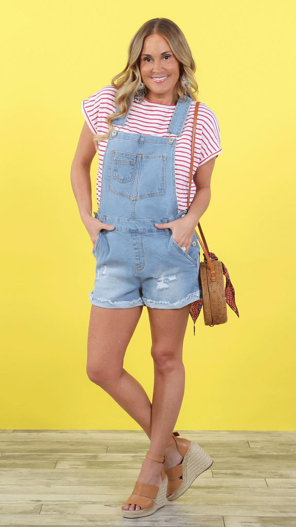Courtney Overall Denim Shorts