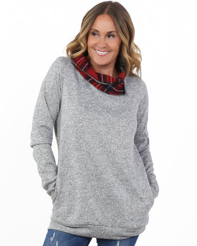 Plaid Cowl Neck Tunic