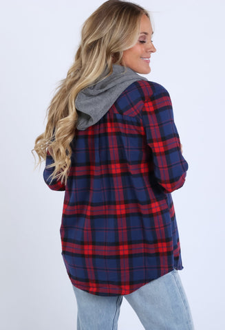 Plaid Hooded Button Up Top