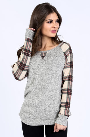 Alex Plaid Sleeve Tunic | S-XL