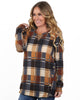 Plaid Side Button Suede Tunic