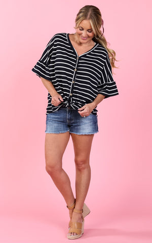 Alexis Striped Front Tie Top | S-3X