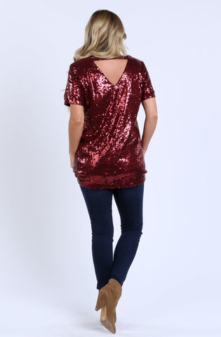 Ruby Sequin Top