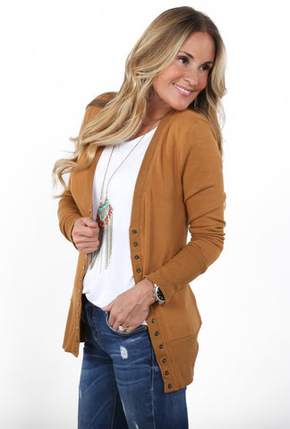 Snap Long Sleeve Cardigan | S-3X