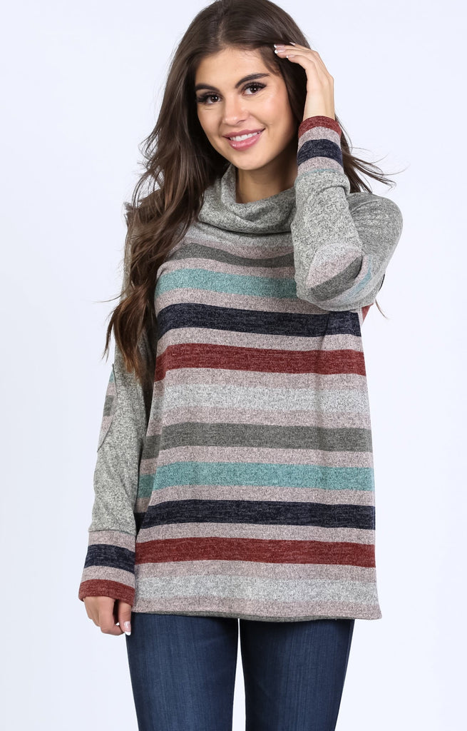 Anna Stripe Body Elbow Patch Tunic | S-XL
