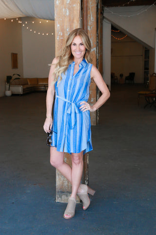 Sleeveless Button Down Belt Dress