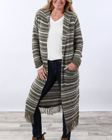 High Quality Striped Hooded Cardigan