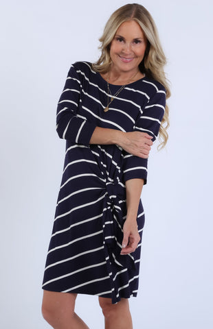Janet Striped Side Tie Dress | S-XL