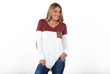 Colorblock Suede Elbow Patch Tunic | S-XL