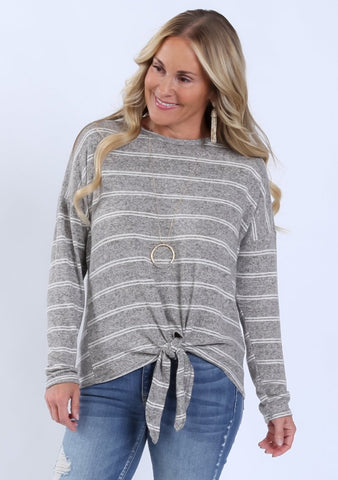 Hacci Striped Tie Front Top |