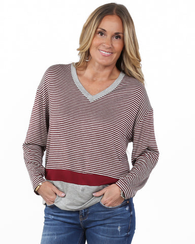 Heather Striped V-Neck Colorblock Top