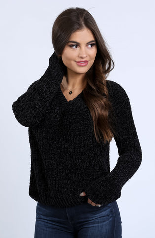 Mandy Soft Velvet V-Neck Sweater