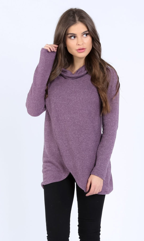 Two-Toned Brushed Crossover Pullover | S-3X