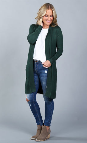 Long Pocket Knee length Cardigan  | S-XL