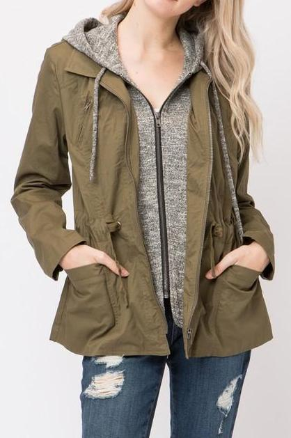 Solid Arm Fall Hooded Jacket