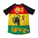 One Love Multi colour Raglan mens tee
