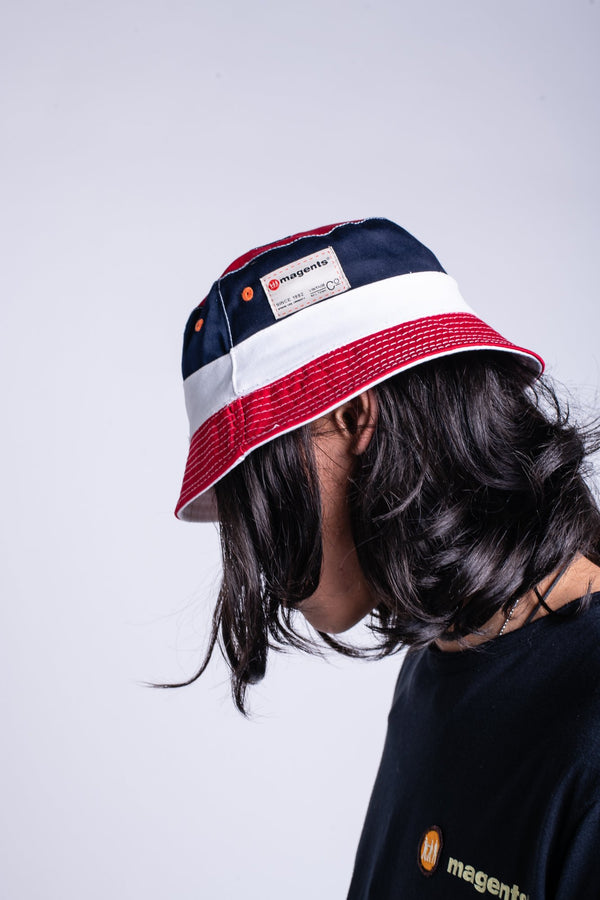 TRI COLOUR REVERSIBLE BUCKET HAT - MULTI - magents