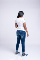 MAGENTS LADIES WIDE NECK TEE - WHITE