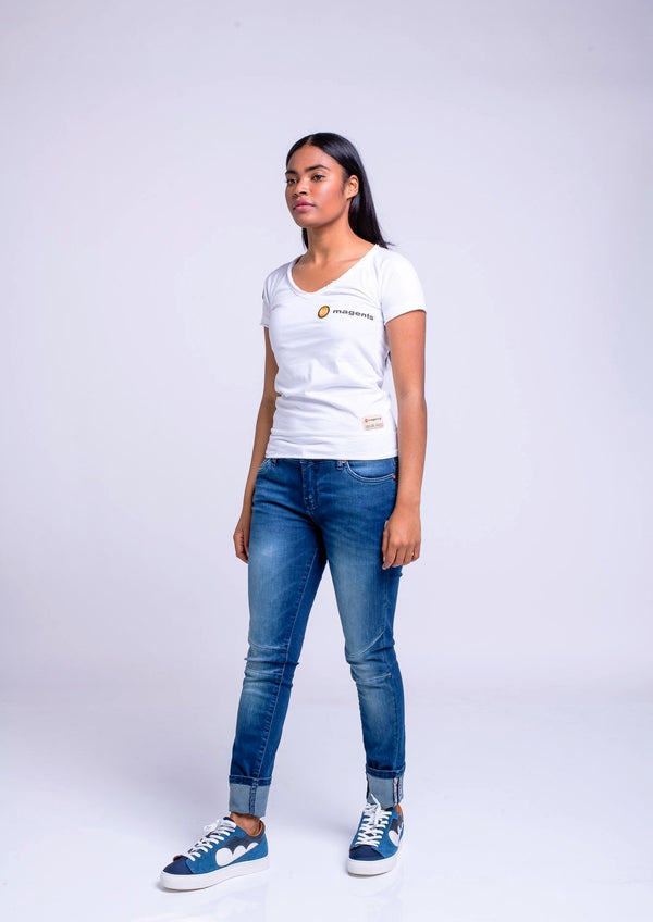 MAGENTS LADIES WIDE NECK TEE - WHITE - magents