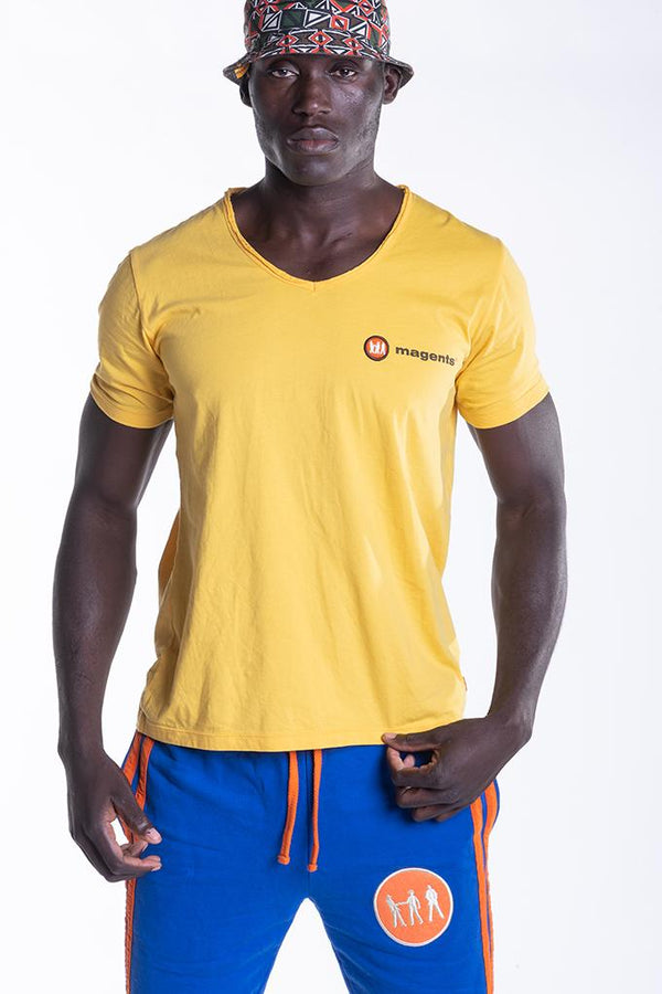 SIGNATURE LOGO TEE IN YELLOW - magents