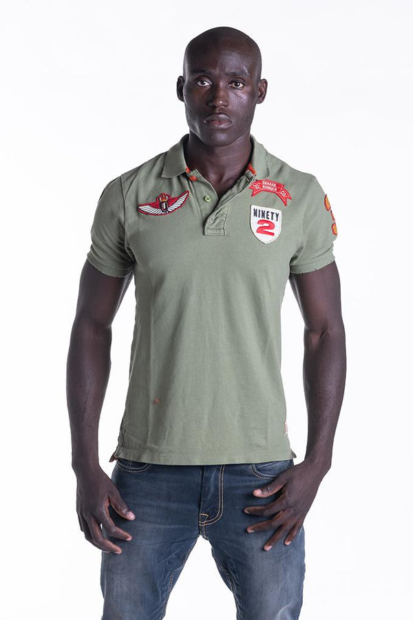 BADGE POLO IN KHAKI