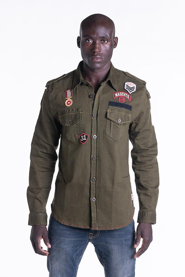 BADGE SHIRTJACKET IN KHAKI