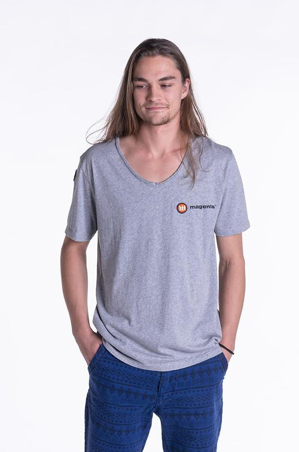 SIGNATURE LOGO TEE IN GREY - magents