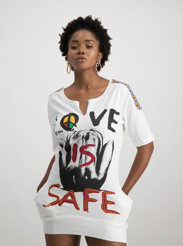LOVE IS SAFE T-SHIRT DRESS - magents