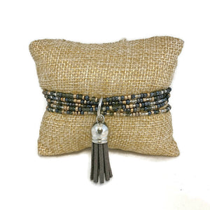 Tiny Slate Seed Bead and Tassel