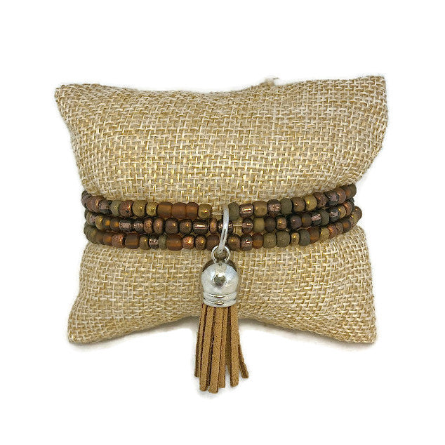 Mahogany Seed Bead and Tassel