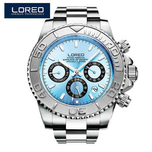 LOREO Men's Watches Top Brand Luxury Sapphire Automatic Mechanical Watch Men Stainless steel 200 Waterproof Blue Dial Watch